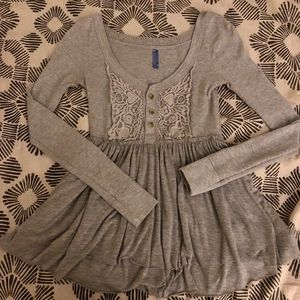 Free People Tops - Free People Gray Thermal Crochet Tunic Size Small